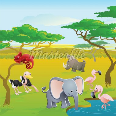 Cute African safari animal cartoon characters scene. Series of three illustrations that can be used separately or side by side to form panoramic landscape. Stock Photo - Royalty-Free, Artist: Krisdog                       , Code: 400-04385153