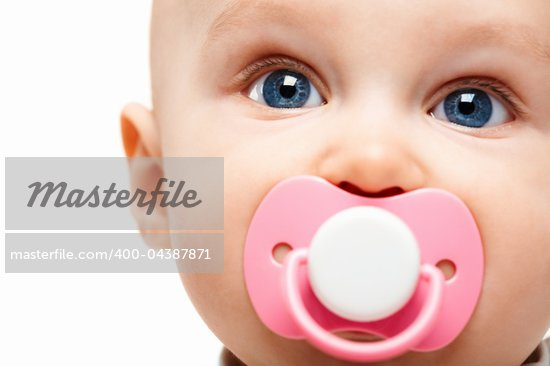 Face of adorable baby with pacifier in mouth looking at camera Stock Photo - Royalty-Free, Artist: pressmaster                   , Code: 400-04387871