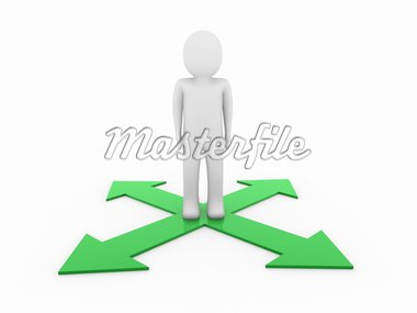3d man human arrow green way direction success Stock Photo - Royalty-Free, Artist: dak                           , Code: 400-04389559