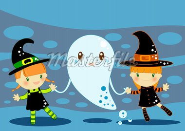 Illustrated Halloween card with a two cute smiling witches and a funny ghost Stock Photo - Royalty-Free, Artist: Gnoppoletta                   , Code: 400-04392177