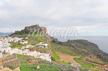 Acropolis In The Ancient Greek Town Lindos Stock Photo - Royalty-Free, Artist: gkuna                         , Code: 400-04393254