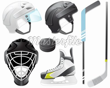 Goaltender helmet, hockey sticks, skate and puck Stock Photo - Royalty-Free, Artist: lazarev                       , Code: 400-04393612