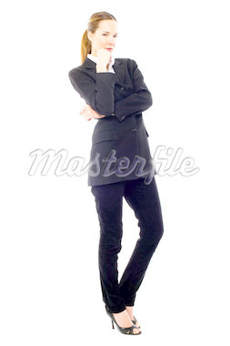young businesswoman standing on white background studio Stock Photo - Royalty-Free, Artist: ambro                         , Code: 400-04398919