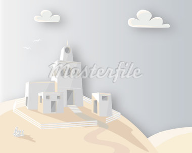 Editable vector illustration of an adobe homestead on a hilltop with background made using a gradient mesh Stock Photo - Royalty-Free, Artist: tawng                         , Code: 400-04399198