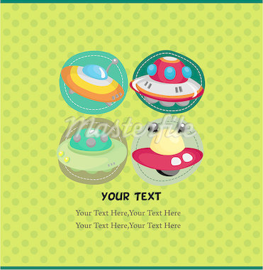 cartoon UFO card Stock Photo - Royalty-Free, Artist: notkoo2008                    , Code: 400-04399349