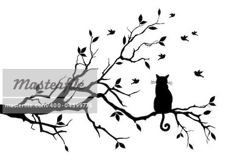 cat sitting on a tree, watching birds, vector background