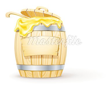 wooden barrel full of honey vector illustration isolated on white background Stock Photo - Royalty-Free, Artist: LoopAll                       , Code: 400-04401991