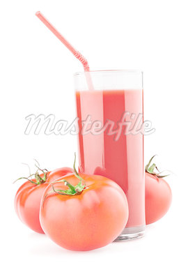Full glass of fresh tomato juice and tomatoes isolated on white background Stock Photo - Royalty-Free, Artist: usersam2007                   , Code: 400-04402639