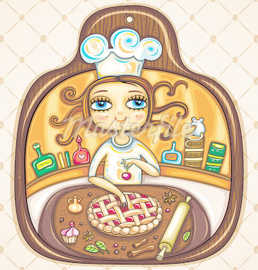 Colorful Illustration in the shape of cutting board. Cute girl cooking cherry pie and placing cherry on top. The comfortable kitchen with cabinets, jars, roller, spices and essences. Stock Photo - Royalty-Free, Artist: dianka                        , Code: 400-04402810