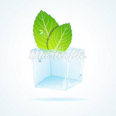 Vector picture with ice and mint leaf Stock Photo - Royalty-Free, Artist: 578foot                       , Code: 400-04404238