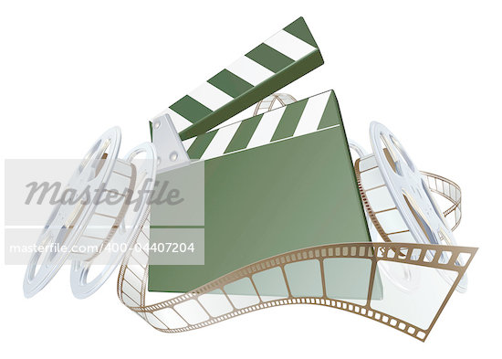 A clapperboard and film spooling out of film reel illustration. Dynamic perspective and copyspace on the board for your text. Stock Photo - Royalty-Free, Artist: Krisdog                       , Code: 400-04407204