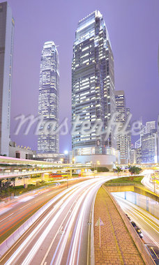 traffic in city at night Stock Photo - Royalty-Free, Artist: leungchopan                   , Code: 400-04407705