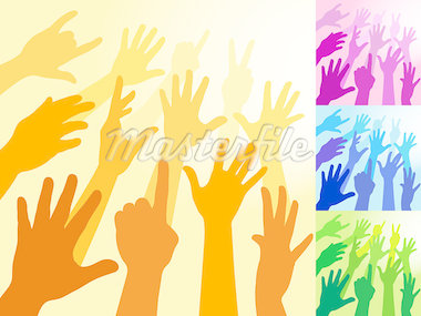A collection of hands and raised arms shapes    Stock Photo - Royalty-Free, Artist: fourleaflover                 , Code: 400-04408083