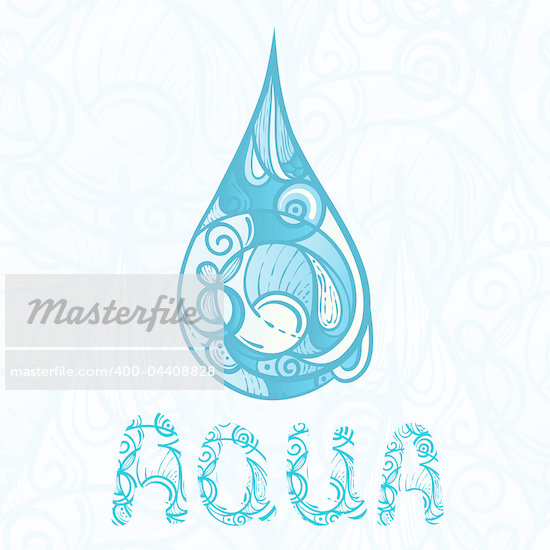 abstract hand drawn drop of water with aqua letters on seamless background with drops