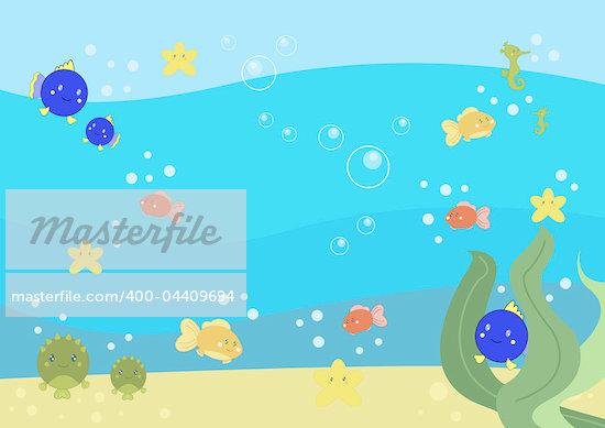 digital illustration about a cute little boy swimming under the sea water Stock Photo - Royalty-Free, Artist: Gnoppoletta                   , Code: 400-04409694