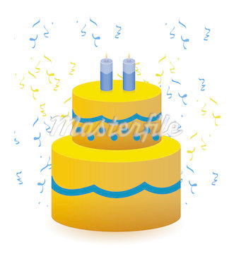 Colorful Birthday cake illustration design isolated over a white background with confetti Stock Photo - Royalty-Free, Artist: Alexmillos                    , Code: 400-04411979