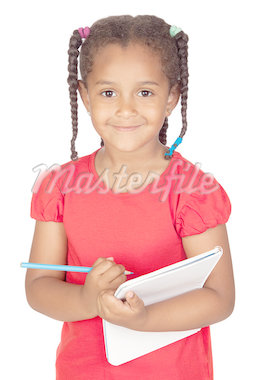 African little girl with a notebook isolated on a over white Stock Photo - Royalty-Free, Artist: Gelpi                         , Code: 400-04412251