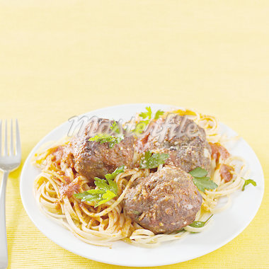 spaghetti and meatballs with copyspace Stock Photo - Royalty-Free, Artist: hojo                          , Code: 400-04414366