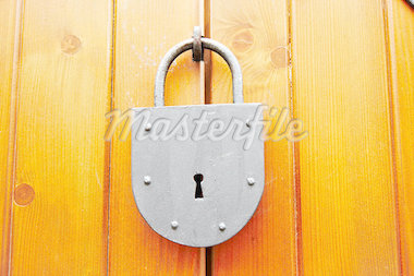 Shot of the old locked padlock - detail Stock Photo - Royalty-Free, Artist: lamich                        , Code: 400-04417237