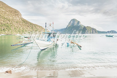 Traditional philippine boats bangka in lagoon of El Nido Stock Photo - Royalty-Free, Artist: GoodOlga                      , Code: 400-04418183