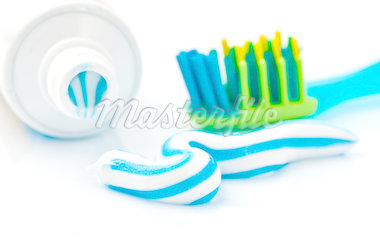 toothpaste with tube and toothbrush Stock Photo - Royalty-Free, Artist: sabanuluca                    , Code: 400-04418391