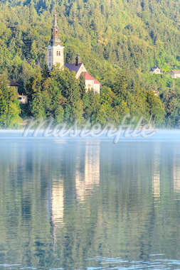 Church on the island - Lake bled in early morning Stock Photo - Royalty-Free, Artist: samotrebizan                  , Code: 400-04418831