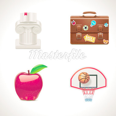 Set of the school and education related icons Stock Photo - Royalty-Free, Artist: tele52                        , Code: 400-04419321