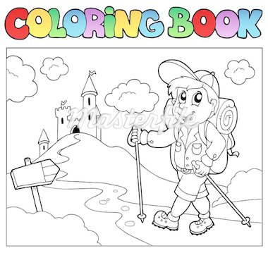 Coloring book with hiker boy - vector illustration. Stock Photo - Royalty-Free, Artist: clairev                       , Code: 400-04419371