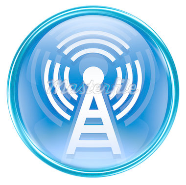 WI-FI tower icon blue, isolated on white background Stock Photo - Royalty-Free, Artist: zeffss                        , Code: 400-04421992