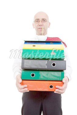 man with colorful binders on white background Stock Photo - Royalty-Free, Artist: dabjola                       , Code: 400-04422741
