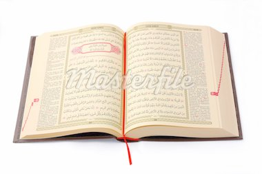 The Holy Koran opened and isolated on white background   Stock Photo - Royalty-Free, Artist: ademdemir                     , Code: 400-04424015