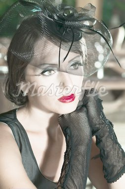 Fashion woman retro portrait in a restaurant Stock Photo - Royalty-Free, Artist: GoodOlga                      , Code: 400-04424047