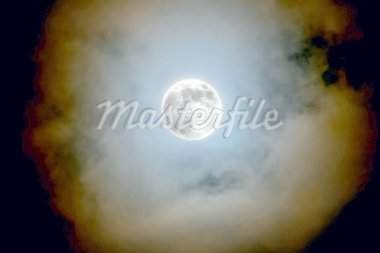 full moon shines through the clouds Stock Photo - Royalty-Free, Artist: lostbear                      , Code: 400-04436558