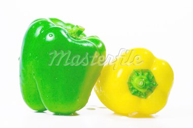 The isolated green and yellow pepper with drops of water Stock Photo - Royalty-Free, Artist: Koljambus                     , Code: 400-04463454