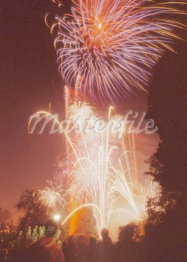 fireworks display at alexandra palace haringey north london Stock Photo - Royalty-Free, Artist: davidmartyn                   , Code: 400-04465456