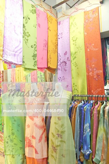 Traditional asian fabrics and clothes for sale in a shop in Malaysia Stock Photo - Royalty-Free, Artist: kgtoh                         , Code: 400-04468490