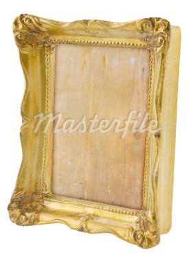 close-up of old gilded frame from perspective isolated on pure white background Stock Photo - Royalty-Free, Artist: kmit                          , Code: 400-04498201
