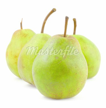 group of ripe green pears on white background Stock Photo - Royalty-Free, Artist: kmit                          , Code: 400-04498313
