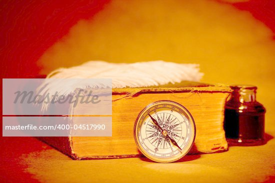 Quill, inkwell, compass, book with an antique look Stock Photo - Royalty-Free, Artist: kasia75                       , Code: 400-04517990