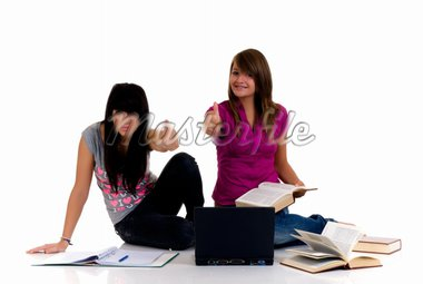 Teenager girls studying with computer and books on white background Stock Photo - Royalty-Free, Artist: Diedie                        , Code: 400-04532088