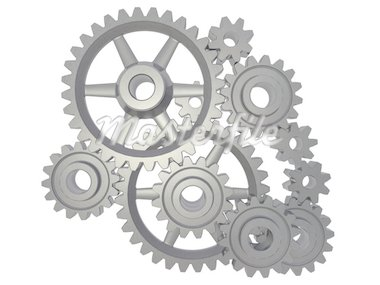 An isolated cogwheel mechanism on white background Stock Photo - Royalty-Free, Artist: broukoid                      , Code: 400-04541536