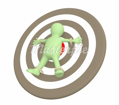 3d person puppet adhered to target. Object over white Stock Photo - Royalty-Free, Artist: frenta                        , Code: 400-04558365