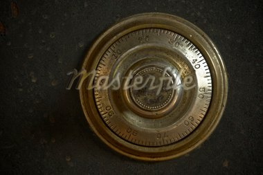 Close-up of a combination dial on an antique safe. Stock Photo - Royalty-Free, Artist: pkazmercyk                    , Code: 400-04567953