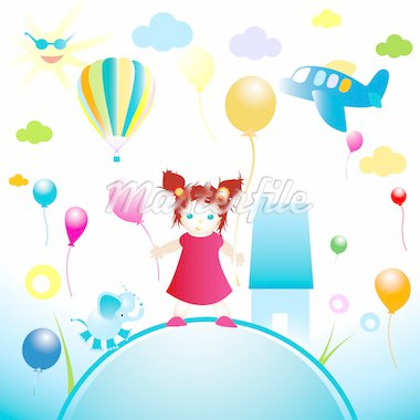 happy world, abstract design for kids Stock Photo - Royalty-Free, Artist: dip                           , Code: 400-04574616