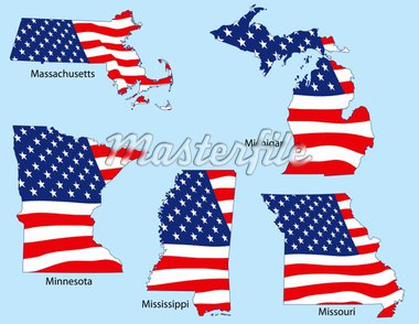 Massachusetts, Michigan, Minnesota, Mississippi and Missouri outlines with flags, each individually grouped Stock Photo - Royalty-Free, Artist: adroach                       , Code: 400-04589452
