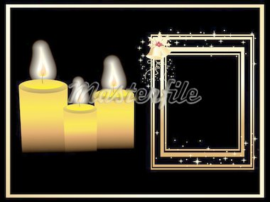 christmas frame with bell and candles Stock Photo - Royalty-Free, Artist: aispl                         , Code: 400-04592871