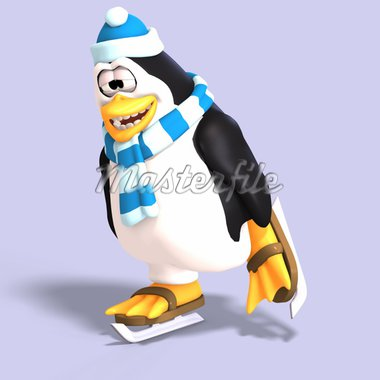 male toon enguin with hat and scraf and clipping path Stock Photo - Royalty-Free, Artist: 3DClipArtsDe                  , Code: 400-04601407