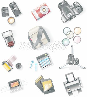 Set of detailed photography icons Stock Photo - Royalty-Free, Artist: tele52                        , Code: 400-04611164