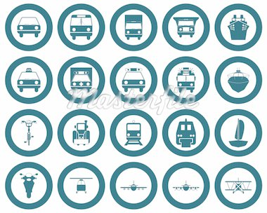 Transportation set of different vector web icons Stock Photo - Royalty-Free, Artist: angelp                        , Code: 400-04649353