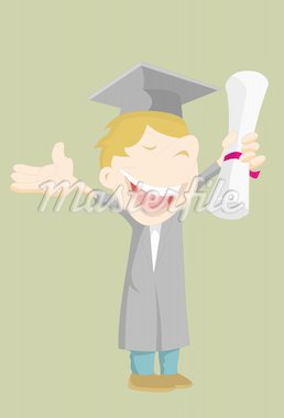 An illustration of a teenager, who is dressed in graduation gown and hat, holding a diploma in his left hand Stock Photo - Royalty-Free, Artist: mayawizard101                 , Code: 400-04651618